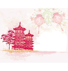 old paper with Asian Landscape and Chinese vector image