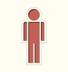 Paper clipped sticker man vector