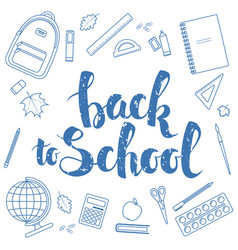 back to school blue linear vector image