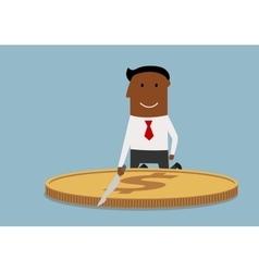 Cartoon corrupt businessman cutting a dollar coin vector