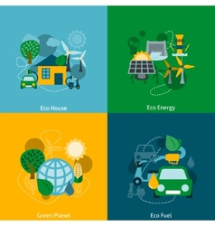 Eco energy flat icons composition vector image vector image