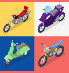 isometric motorcycle set with mountaine bike vector image vector image