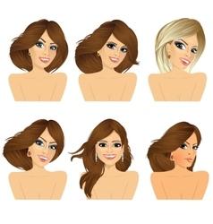 Six attractive caucasian women faces vector