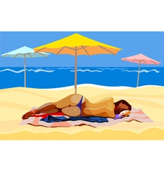 woman lying on the beach with umbrellas vector image vector image