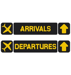 arrival and departures airport signs vector image vector image