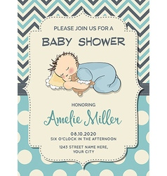 Beautiful baby boy shower card with little baby vector image vector image