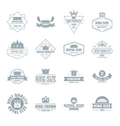 crown royal logo icons set simple style vector image