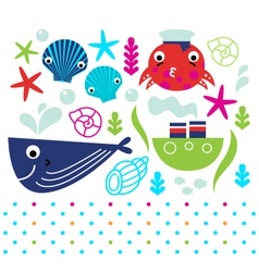 Cute sea animals set isolated on white vector image vector image