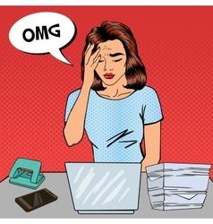 Pop Art Business Woman has a Headache at Office vector image