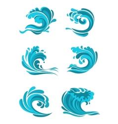 Curling sea and ocean blue waves vector