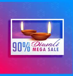 diwali festival season sale background with diya vector image