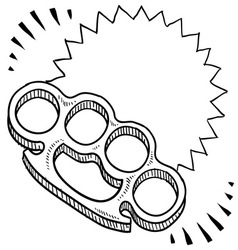 doodle weapons brass knuckles vector image vector image
