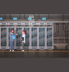 people working in data center room hosting server vector image