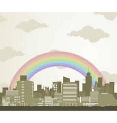 rainbow over a city vector image