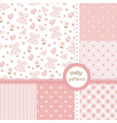 Set of baby girl patterns vector image
