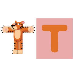t is for tiger letter t tiger cute vector image vector image