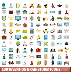 100 invention brainstorm icons set flat style vector