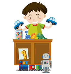 a boy playing toys vector image