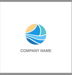 abstract boat wave logo vector image
