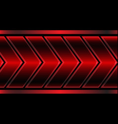 Abstract red metallic arrow pattern on black vector