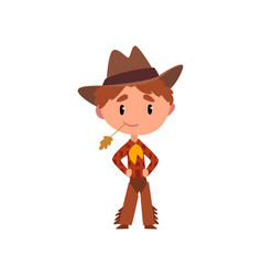 American cowboy boy in national clothes kid vector