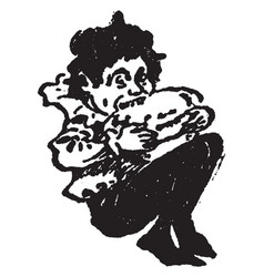 An elf eating a pie from mother goose vintage vector