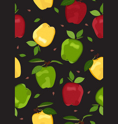 Apple colorful seamless pattern on black vector
