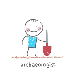 Archaeologist holding a shovel vector