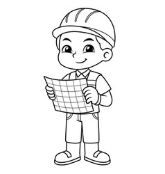 Architect boy look into working plan bw vector