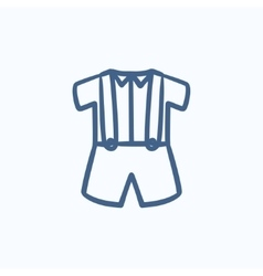 Baby shirt and shorts with suspenders sketch icon vector image