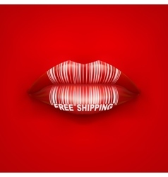 Background of Woman mouth with tag and lips vector image