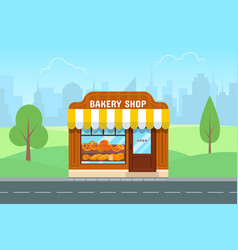 Bakery store in flat style vector