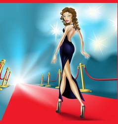 beautiful elegant woman on red carpet vector image