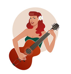 Beautiful pin-up girl playing guitar isolated on vector