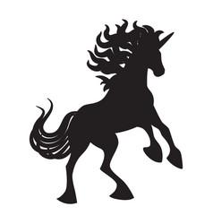 black cute silhouette unicorn vector image