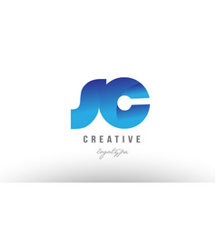 blue gradient sc s c alphabet letter logo vector image