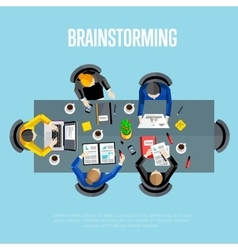 Brainstorming concept Top view workspace vector