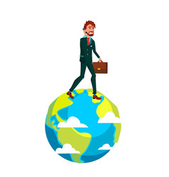 businessman with suitcase walking on top of earth vector image