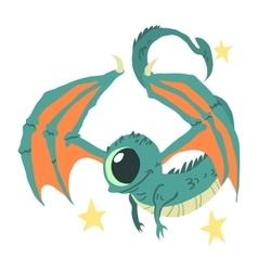 Cartoon casual little alien flat mascot vector image