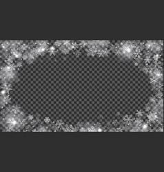 Christmas frame translucent snowflakes in the vector