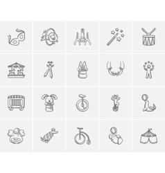 Circus sketch icon set vector