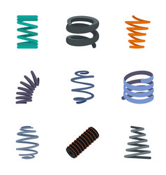 coil spring cable icon set flat style vector image
