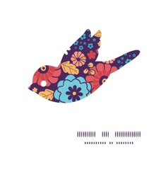 colorful bouquet flowers bird silhouette pattern vector image