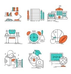Conceptual basic education icon set vector