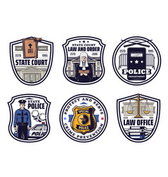 Court judge police and justice scale icons vector
