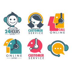 Customer service promotional emblem with woman vector