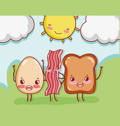 Cute breakfast kawaii cartoons vector