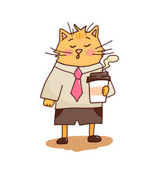 cute cat coffee break 5 vector image