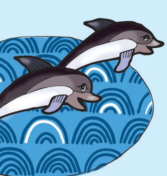 Dolphins dives into the water vector