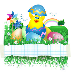 easter banner with funny chick vector image